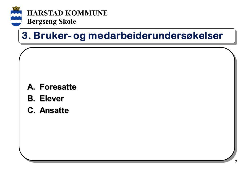 HARSTAD KOMMUNE Bergseng Skole 7 3. Bruker- og medarbeiderundersøkelser A.Foresatte B.Elever C.Ansatte