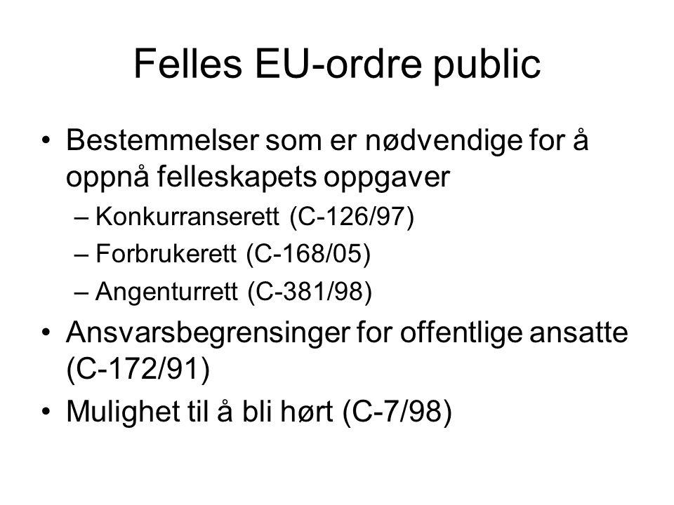 Felles EU-ordre public Bestemmelser som er nødvendige for å oppnå felleskapets oppgaver –Konkurranserett (C-126/97) –Forbrukerett (C-168/05) –Angentur