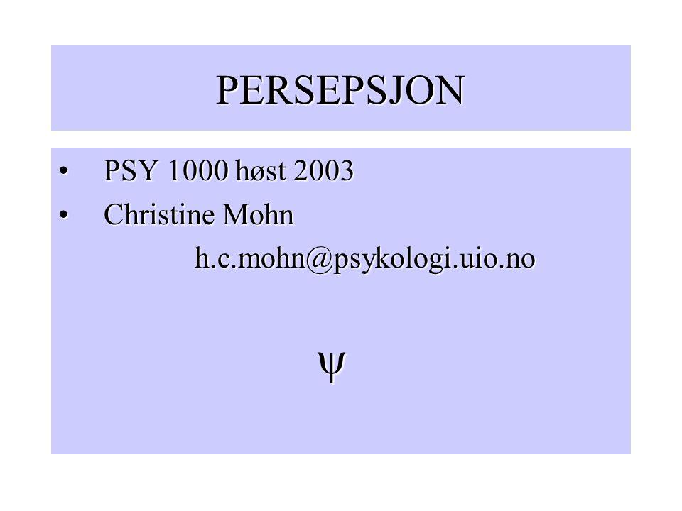 PERSEPSJON PSY 1000 høst 2003PSY 1000 høst 2003 Christine MohnChristine Mohnh.c.mohn@psykologi.uio.no 