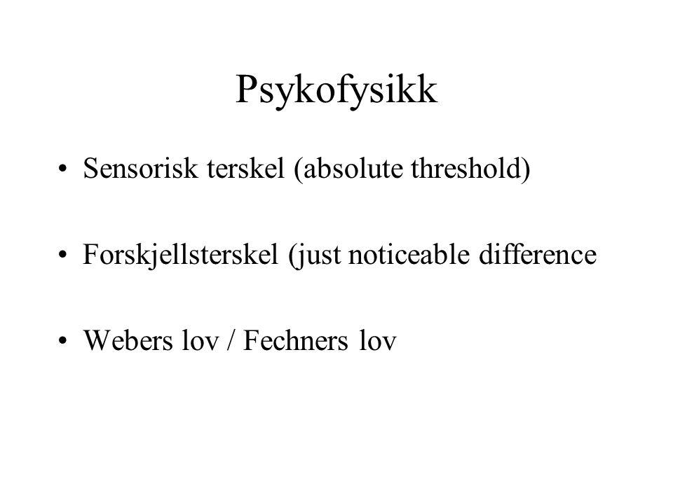 Psykofysikk Sensorisk terskel (absolute threshold) Forskjellsterskel (just noticeable difference Webers lov / Fechners lov