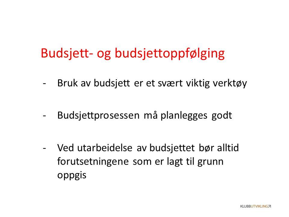 Budsjett- og budsjettoppfølging -Bruk av budsjett er et svært viktig verktøy -Budsjettprosessen må planlegges godt -Ved utarbeidelse av budsjettet bør