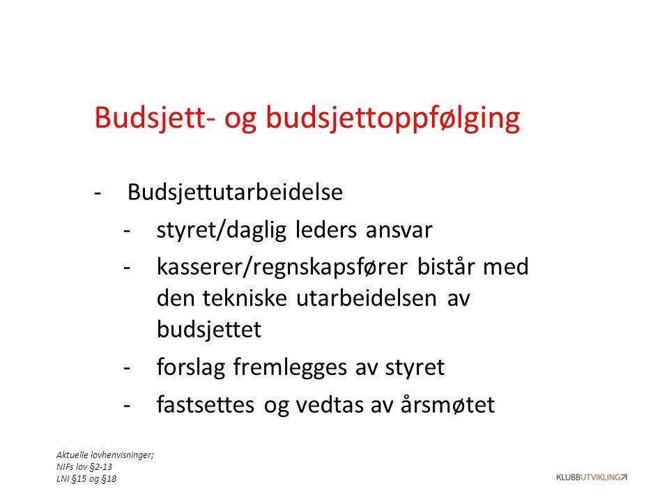 Budsjett- og budsjettoppfølging -Budsjettutarbeidelse -styret/daglig leders ansvar -kasserer/regnskapsfører bistår med den tekniske utarbeidelsen av b