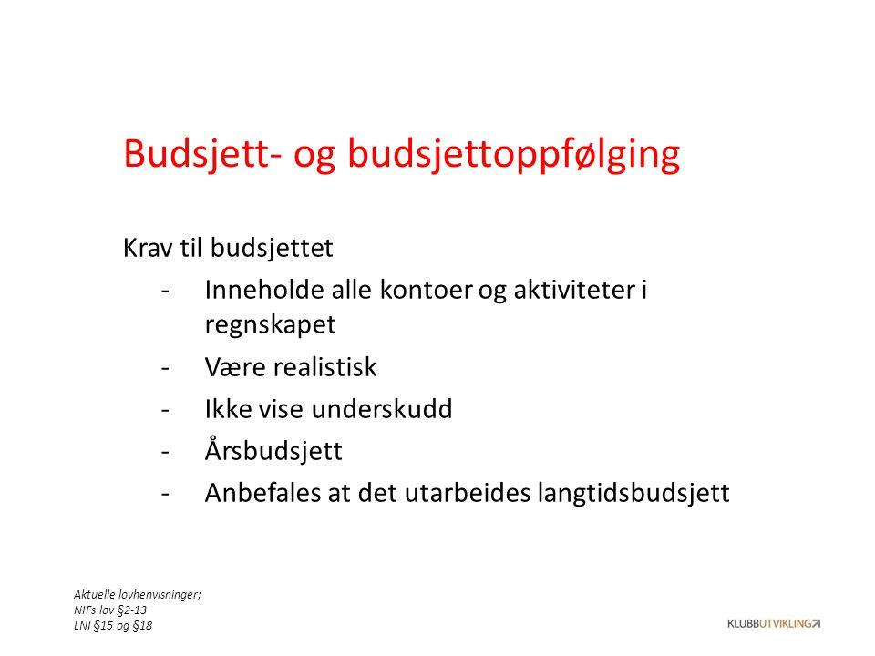 Budsjett- og budsjettoppfølging Krav til budsjettet -Inneholde alle kontoer og aktiviteter i regnskapet -Være realistisk -Ikke vise underskudd -Årsbud