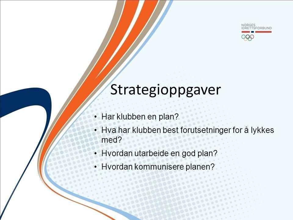 Strategioppgaver Har klubben en plan? Hva har klubben best forutsetninger for å lykkes med? Hvordan utarbeide en god plan? Hvordan kommunisere planen?