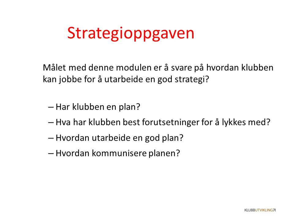 Strategioppgaven Målet med denne modulen er å svare på hvordan klubben kan jobbe for å utarbeide en god strategi? – Har klubben en plan? – Hva har klu