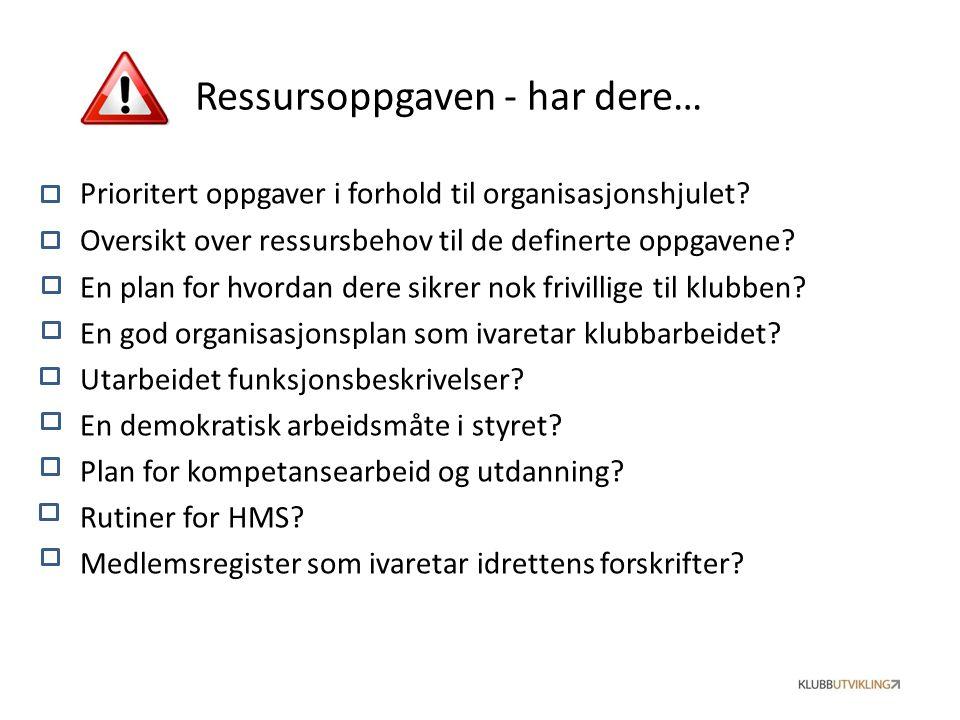 Prioritert oppgaver i forhold til organisasjonshjulet? Oversikt over ressursbehov til de definerte oppgavene? En plan for hvordan dere sikrer nok friv