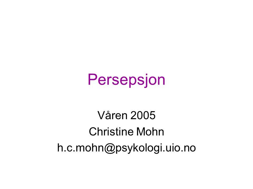 Persepsjon Våren 2005 Christine Mohn h.c.mohn@psykologi.uio.no