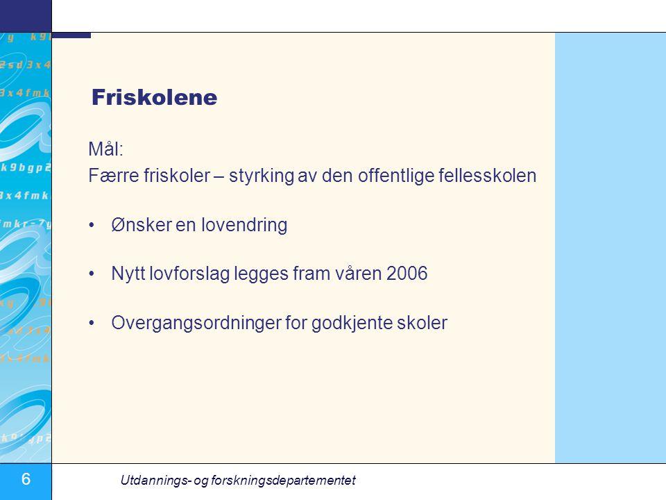 6 Utdannings- og forskningsdepartementet Friskolene Mål: Færre friskoler – styrking av den offentlige fellesskolen Ønsker en lovendring Nytt lovforsla