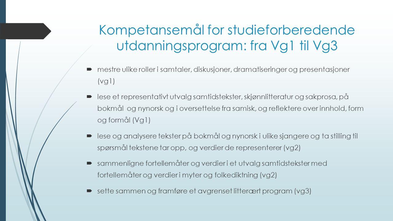 Kompetansemål for studieforberedende utdanningsprogram: fra Vg1 til Vg3  mestre ulike roller i samtaler, diskusjoner, dramatiseringer og presentasjon