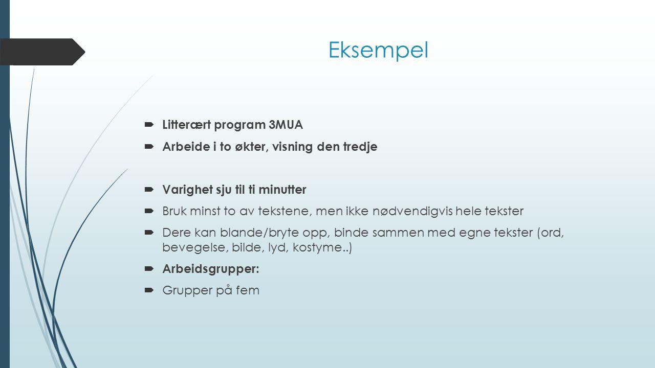 Eksempel  Litterært program 3MUA  Arbeide i to økter, visning den tredje  Varighet sju til ti minutter  Bruk minst to av tekstene, men ikke nødven