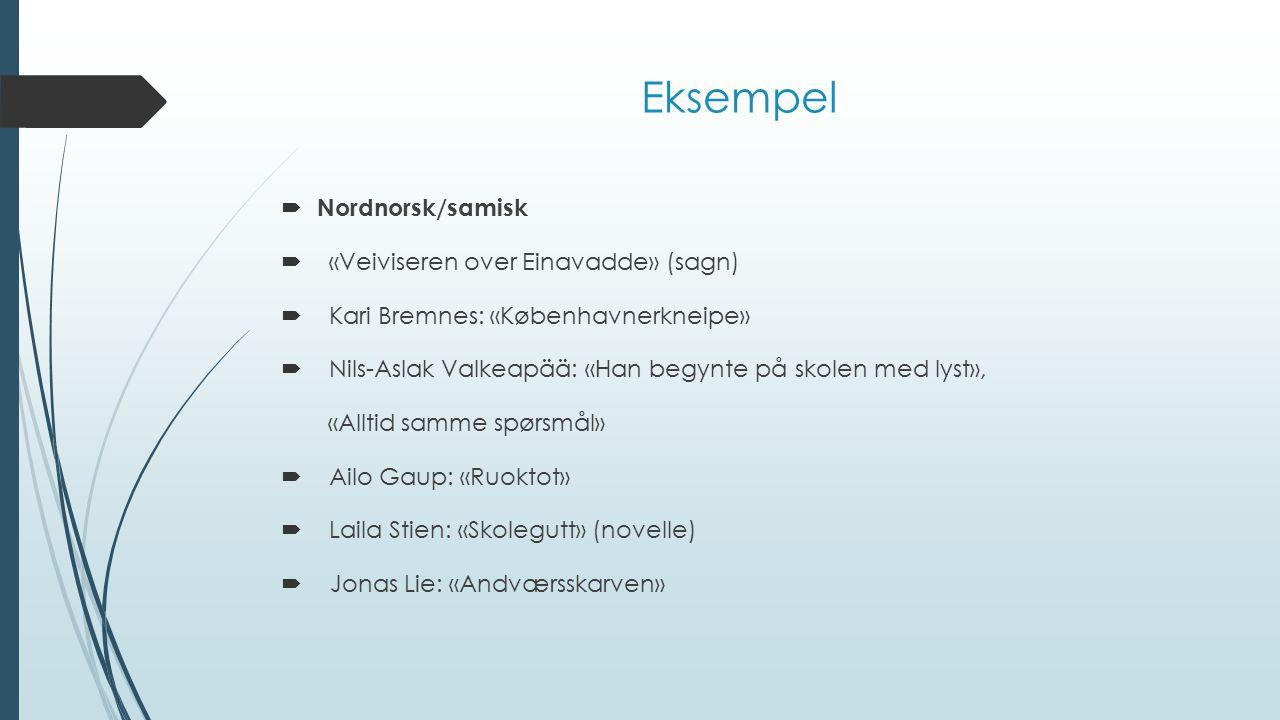 Eksempel  Nordnorsk/samisk  «Veiviseren over Einavadde» (sagn)  Kari Bremnes: «Københavnerkneipe»  Nils-Aslak Valkeapää: «Han begynte på skolen me