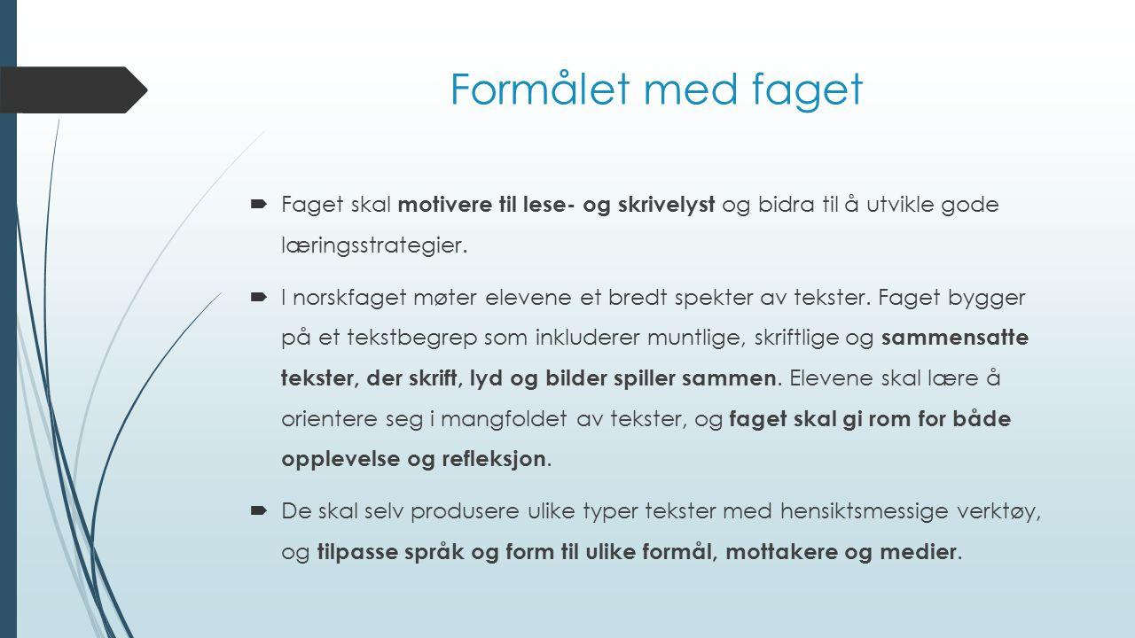 Formålet med faget  Faget skal motivere til lese- og skrivelyst og bidra til å utvikle gode læringsstrategier.  I norskfaget møter elevene et bredt