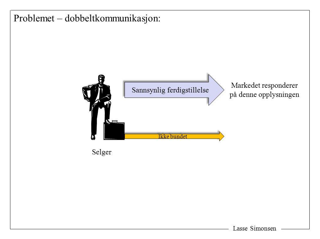 Lasse Simonsen Problemet – dobbeltkommunikasjon: Selger Ikke bundet Sannsynlig ferdigstillelse Markedet responderer på denne opplysningen