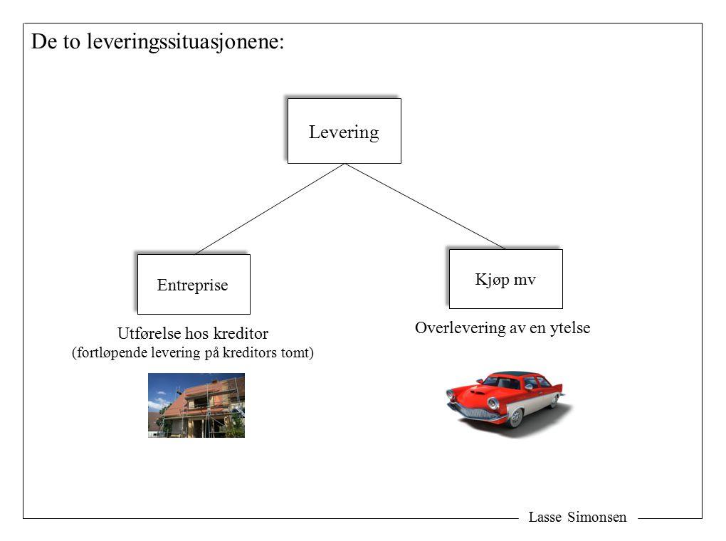 Lasse Simonsen De to leveringssituasjonene: Levering Entreprise Kjøp mv Utførelse hos kreditor (fortløpende levering på kreditors tomt) Overlevering av en ytelse