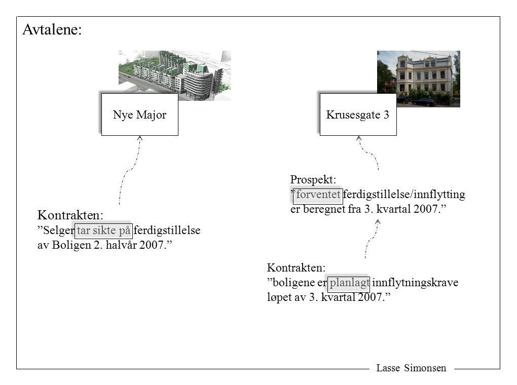 Lasse Simonsen Avtalene: Kontrakten: Selger tar sikte på ferdigstillelse av Boligen 2.
