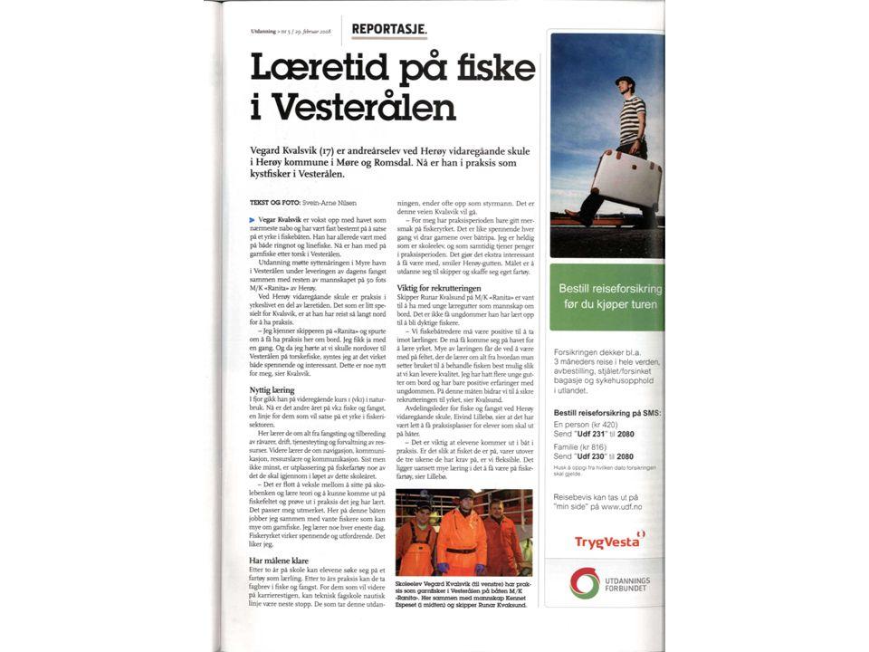 Praksisundervisning Herøy v.skule 2007/2008 Fiske &fangst Sept.