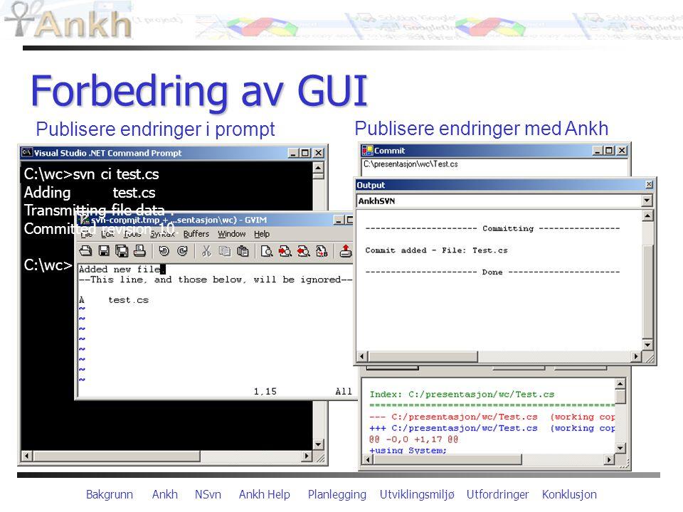 Bakgrunn Ankh NSvn Ankh Help Planlegging Utviklingsmiljø Utfordringer Konklusjon Forbedring av GUI C:\wc>svn ci test.cs Adding test.cs Transmitting file data.