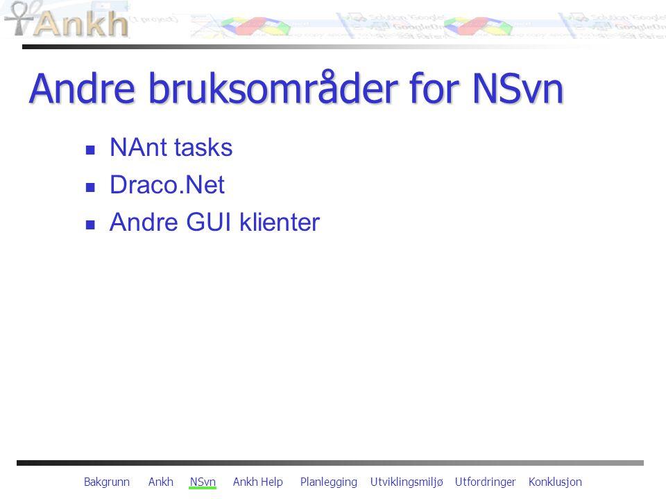 Bakgrunn Ankh NSvn Ankh Help Planlegging Utviklingsmiljø Utfordringer Konklusjon Andre bruksområder for NSvn NAnt tasks Draco.Net Andre GUI klienter