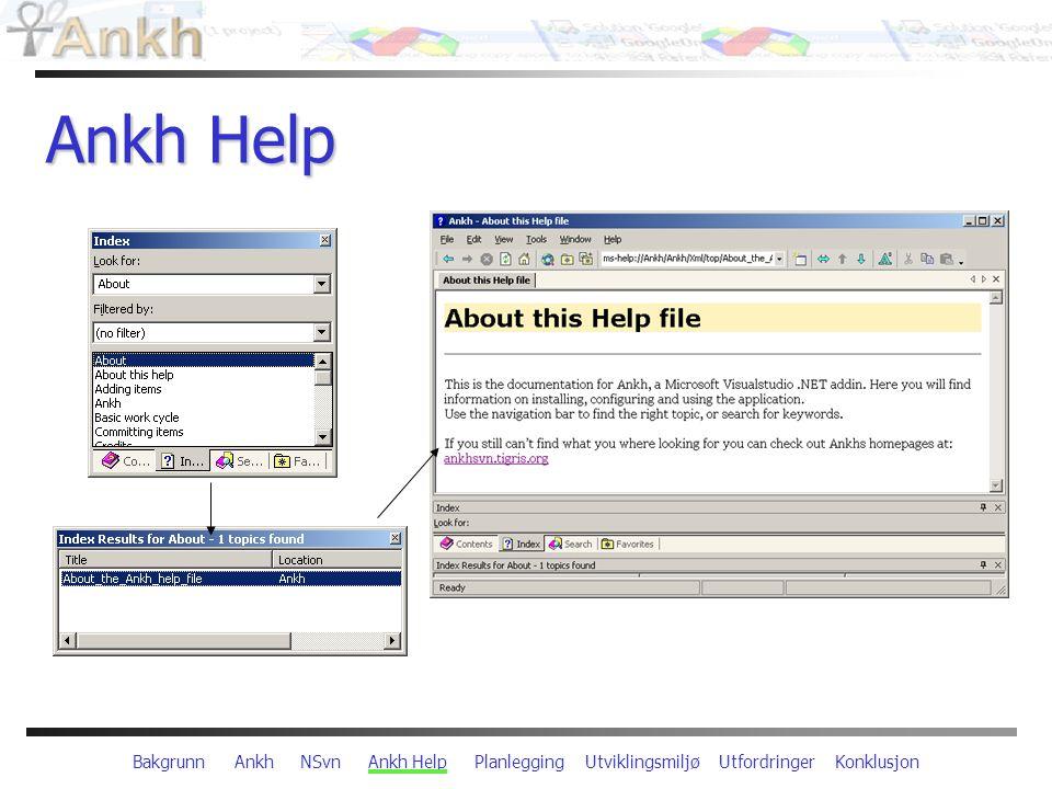 Bakgrunn Ankh NSvn Ankh Help Planlegging Utviklingsmiljø Utfordringer Konklusjon Ankh Help