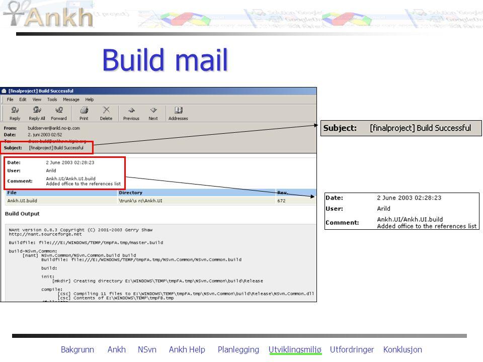 Bakgrunn Ankh NSvn Ankh Help Planlegging Utviklingsmiljø Utfordringer Konklusjon Build mail
