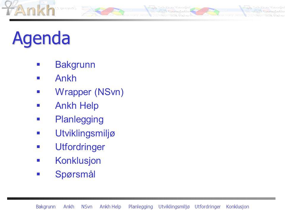 Bakgrunn Ankh NSvn Ankh Help Planlegging Utviklingsmiljø Utfordringer Konklusjon Agenda  Bakgrunn  Ankh  Wrapper (NSvn)  Ankh Help  Planlegging  Utviklingsmiljø  Utfordringer  Konklusjon  Spørsmål