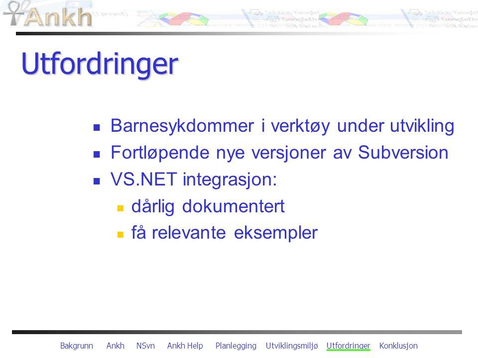 Bakgrunn Ankh NSvn Ankh Help Planlegging Utviklingsmiljø Utfordringer Konklusjon Utfordringer Barnesykdommer i verktøy under utvikling Fortløpende nye versjoner av Subversion VS.NET integrasjon: dårlig dokumentert få relevante eksempler