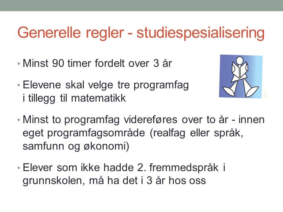 Generelle regler - studiespesialisering Minst 90 timer fordelt over 3 år Elevene skal velge tre programfag i tillegg til matematikk Minst to programfa