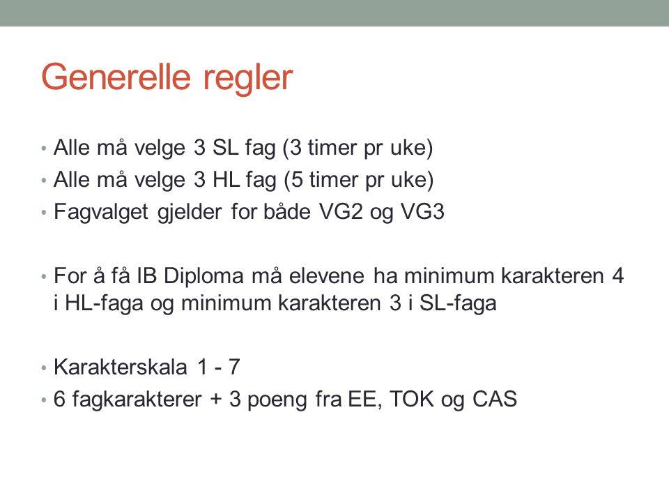 Generelle regler Alle må velge 3 SL fag (3 timer pr uke) Alle må velge 3 HL fag (5 timer pr uke) Fagvalget gjelder for både VG2 og VG3 For å få IB Dip