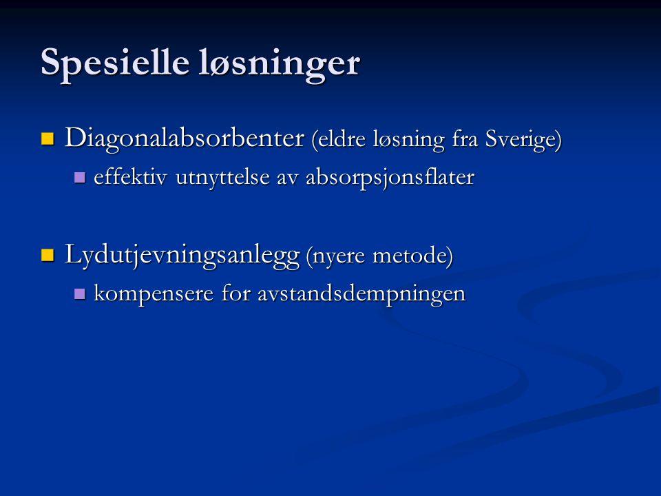 Spesielle løsninger Diagonalabsorbenter (eldre løsning fra Sverige) Diagonalabsorbenter (eldre løsning fra Sverige) effektiv utnyttelse av absorpsjonsflater effektiv utnyttelse av absorpsjonsflater Lydutjevningsanlegg (nyere metode) Lydutjevningsanlegg (nyere metode) kompensere for avstandsdempningen kompensere for avstandsdempningen