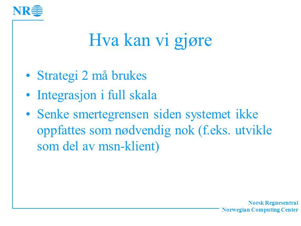 Norsk Regnesentral Norwegian Computing Center Hva kan vi gjøre Strategi 2 må brukes Integrasjon i full skala Senke smertegrensen siden systemet ikke o