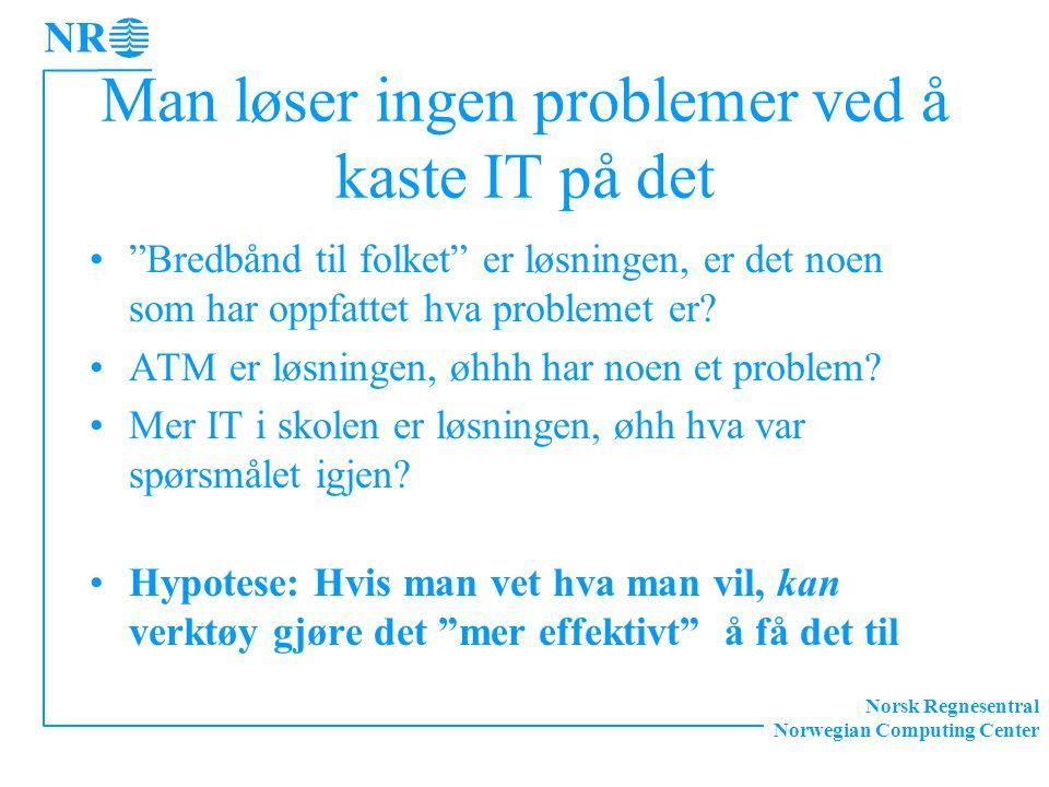 """Norsk Regnesentral Norwegian Computing Center Man løser ingen problemer ved å kaste IT på det """"Bredbånd til folket"""" er løsningen, er det noen som har"""