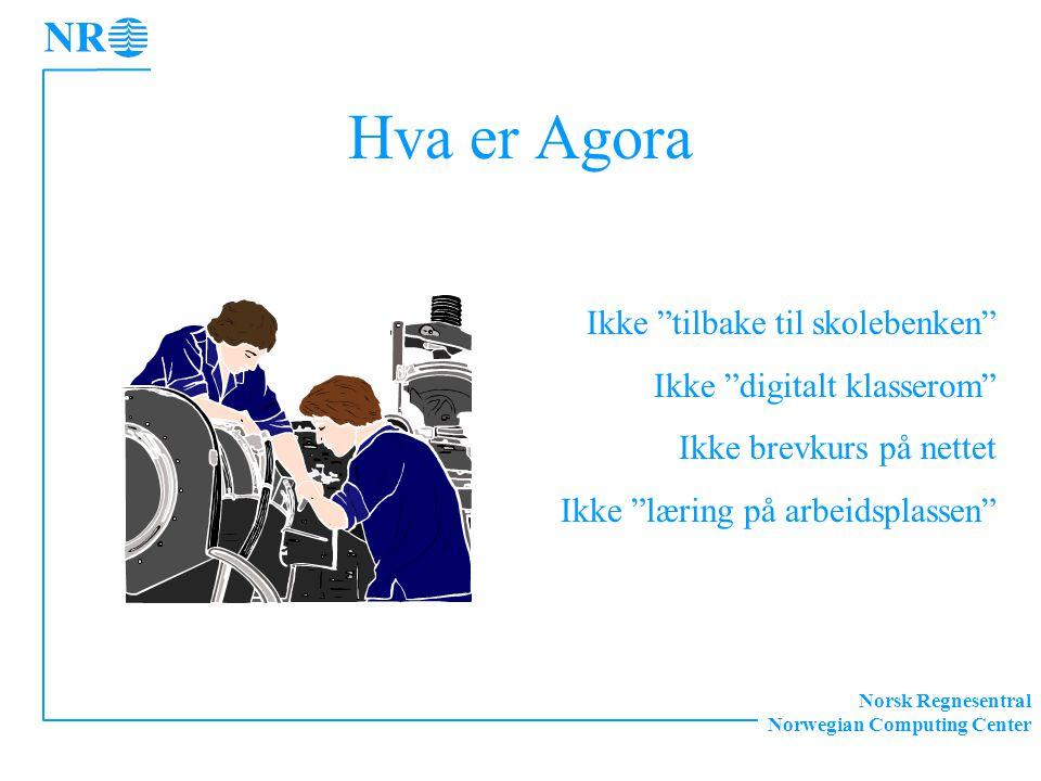 """Norsk Regnesentral Norwegian Computing Center Hva er Agora Ikke """"tilbake til skolebenken"""" Ikke """"digitalt klasserom"""" Ikke brevkurs på nettet Ikke """"læri"""