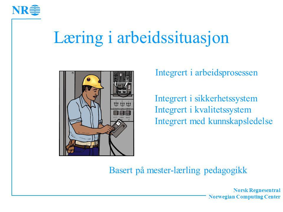 Norsk Regnesentral Norwegian Computing Center Læring i arbeidssituasjon Integrert i arbeidsprosessen Integrert i sikkerhetssystem Integrert i kvalitet
