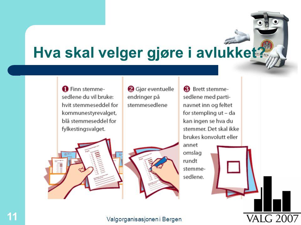 Valgorganisasjonen i Bergen 11 Hva skal velger gjøre i avlukket?