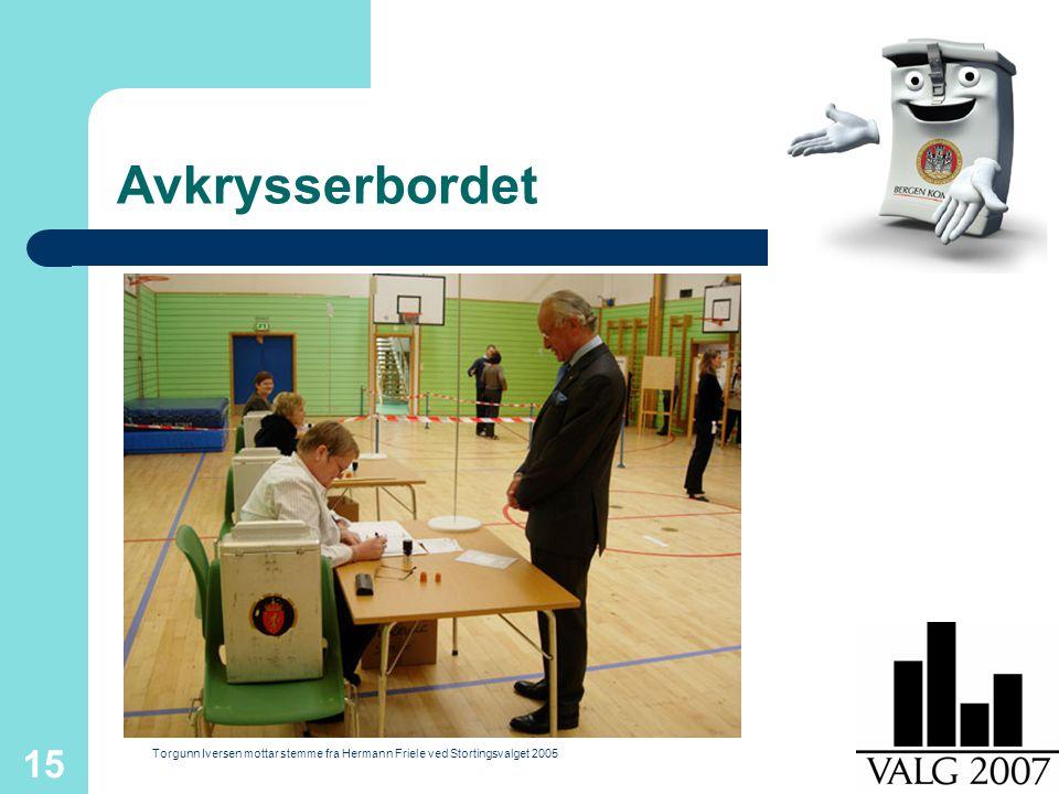 15 Avkrysserbordet Torgunn Iversen mottar stemme fra Hermann Friele ved Stortingsvalget 2005