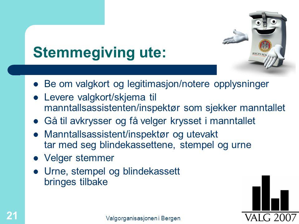 Valgorganisasjonen i Bergen 21 Stemmegiving ute: Be om valgkort og legitimasjon/notere opplysninger Levere valgkort/skjema til manntallsassistenten/in