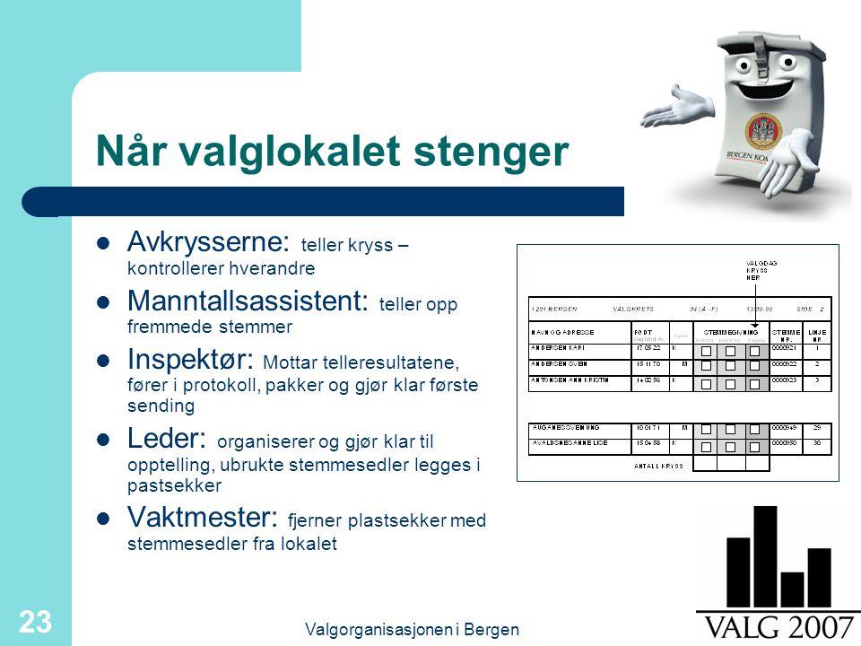 Valgorganisasjonen i Bergen 23 Når valglokalet stenger Avkrysserne: teller kryss – kontrollerer hverandre Manntallsassistent: teller opp fremmede stem