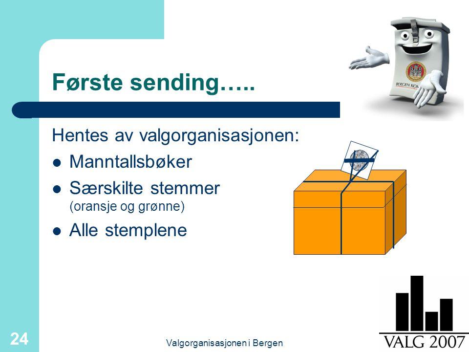 Valgorganisasjonen i Bergen 24 Første sending….. Hentes av valgorganisasjonen: Manntallsbøker Særskilte stemmer (oransje og grønne) Alle stemplene