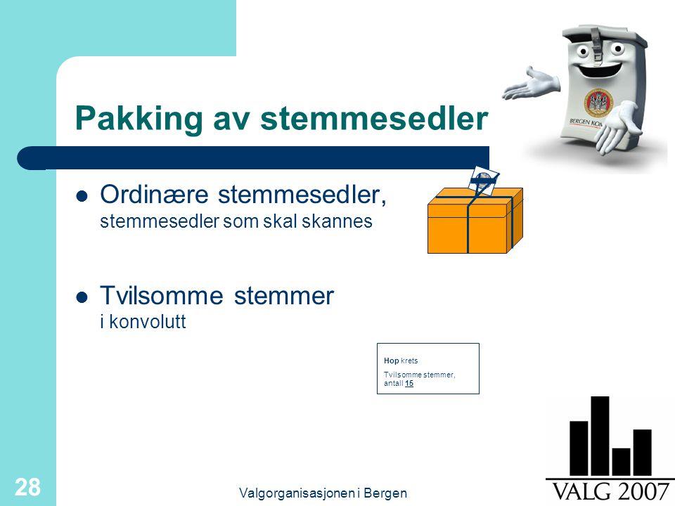 Valgorganisasjonen i Bergen 28 Pakking av stemmesedler Ordinære stemmesedler, stemmesedler som skal skannes Tvilsomme stemmer i konvolutt Hop krets Tv
