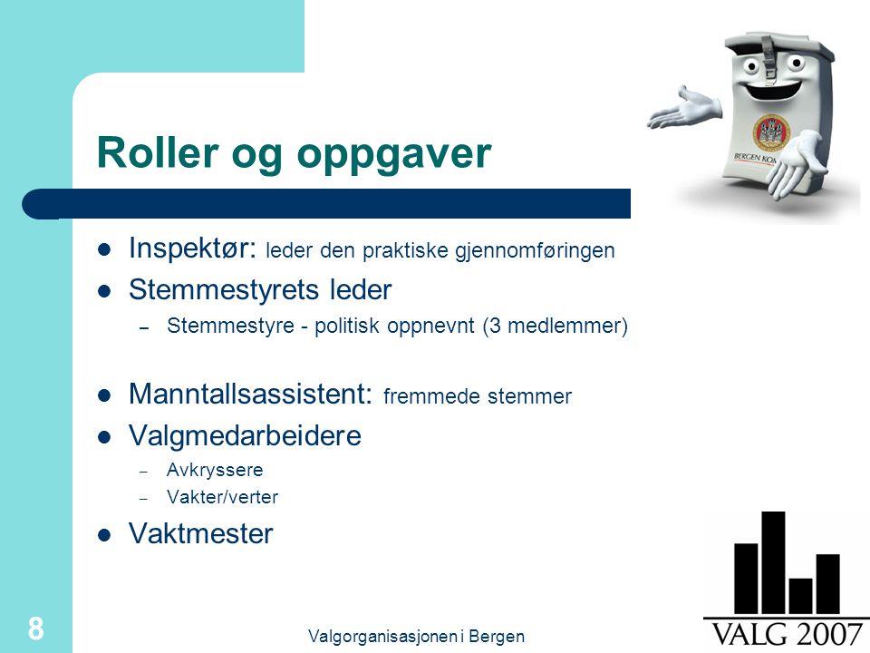 Valgorganisasjonen i Bergen 8 Roller og oppgaver Inspektør: leder den praktiske gjennomføringen Stemmestyrets leder – Stemmestyre - politisk oppnevnt