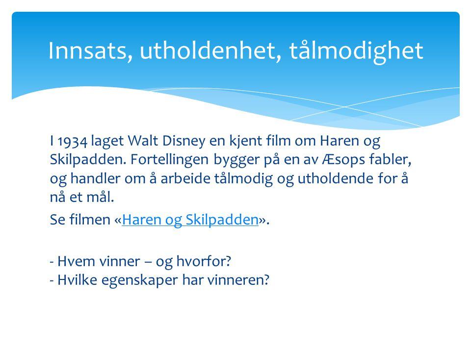 I 1934 laget Walt Disney en kjent film om Haren og Skilpadden.