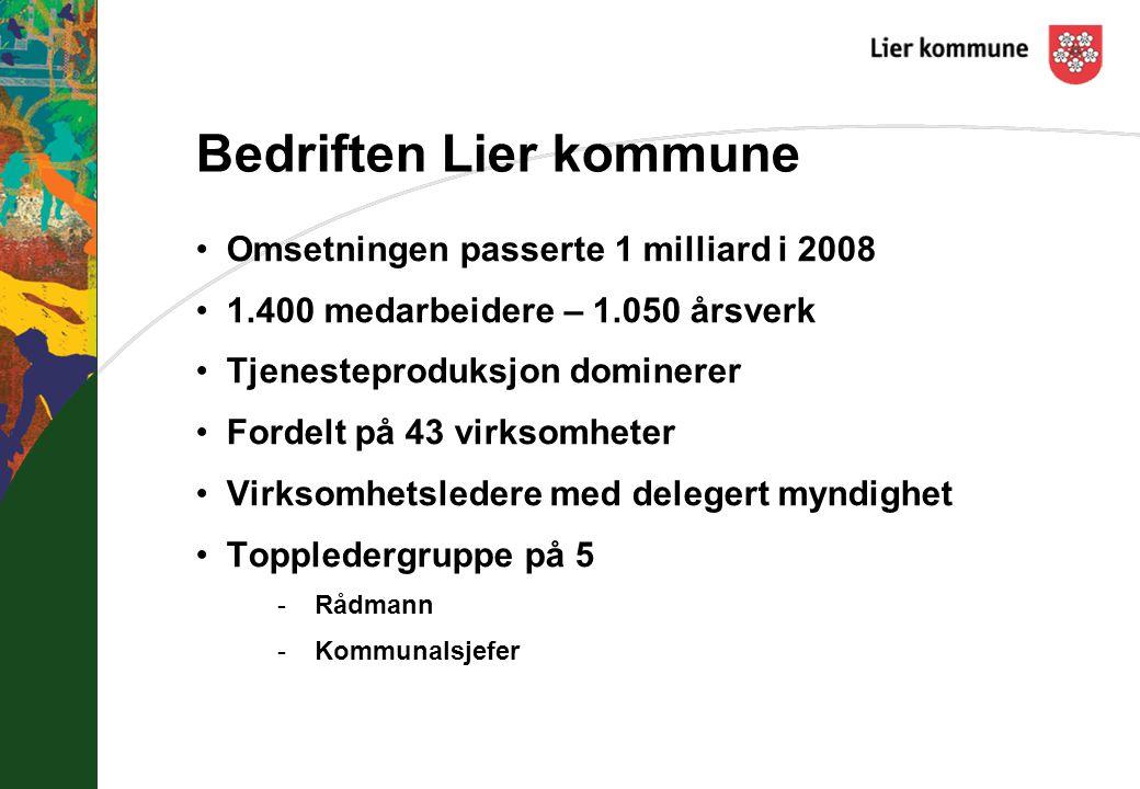 Bedriften Lier kommune Omsetningen passerte 1 milliard i 2008 1.400 medarbeidere – 1.050 årsverk Tjenesteproduksjon dominerer Fordelt på 43 virksomheter Virksomhetsledere med delegert myndighet Toppledergruppe på 5 -Rådmann -Kommunalsjefer