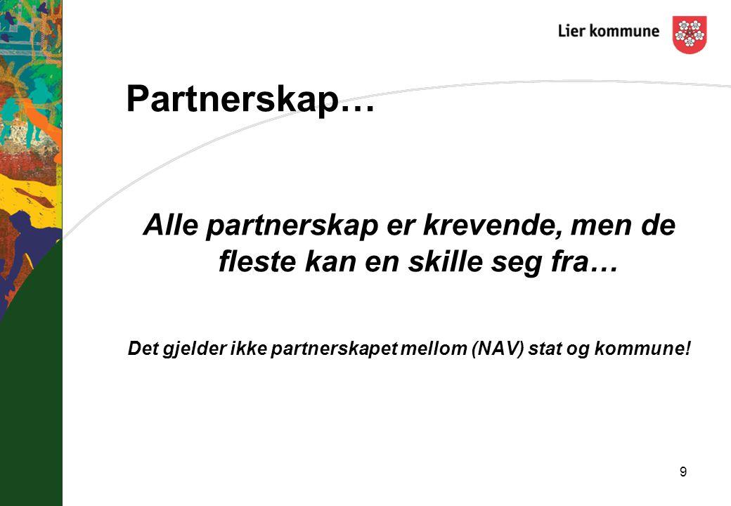Partnerskap… Alle partnerskap er krevende, men de fleste kan en skille seg fra… Det gjelder ikke partnerskapet mellom (NAV) stat og kommune! 9