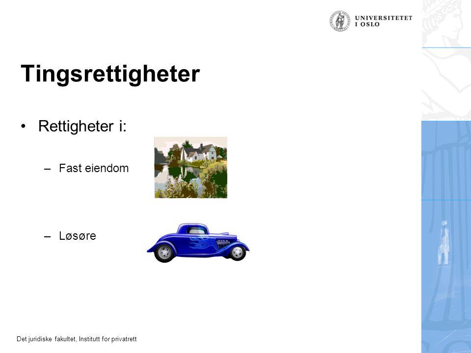 Det juridiske fakultet, Institutt for privatrett Tingsrettigheter Rettigheter i: –Fast eiendom –Løsøre