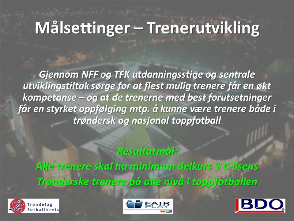 Målsettinger – Trenerutvikling Gjennom NFF og TFK utdanningsstige og sentrale utviklingstiltak sørge for at flest mulig trenere får en økt kompetanse