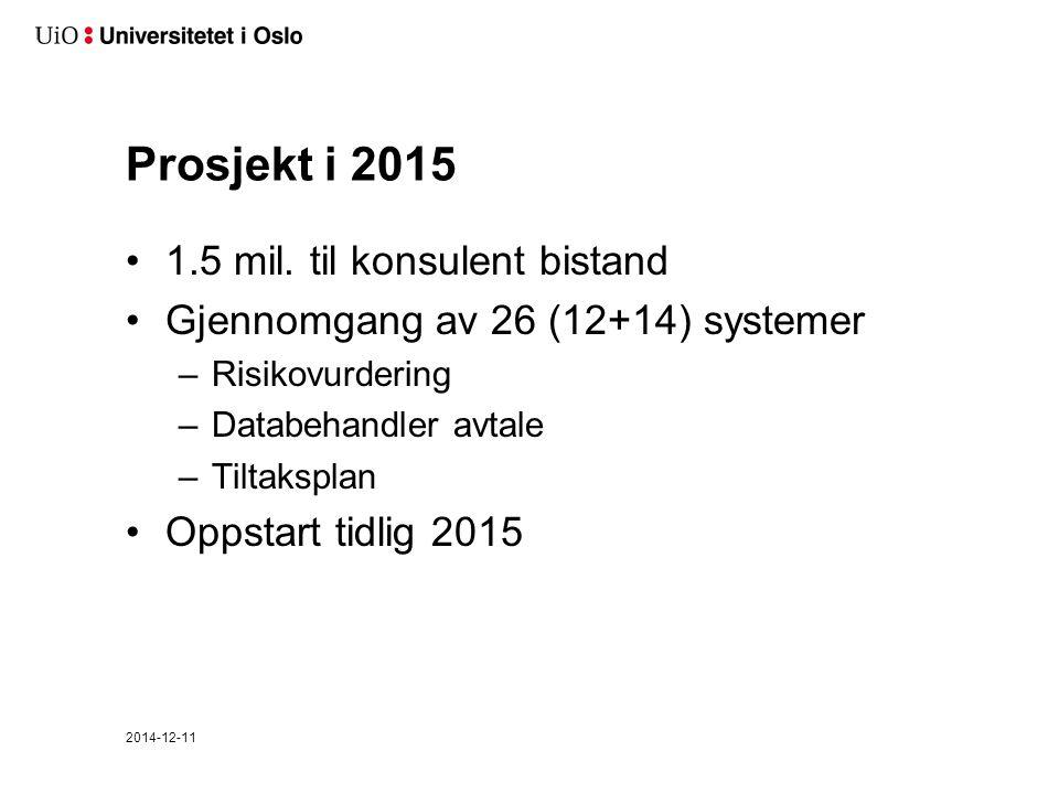 Prosjekt i 2015 1.5 mil. til konsulent bistand Gjennomgang av 26 (12+14) systemer –Risikovurdering –Databehandler avtale –Tiltaksplan Oppstart tidlig