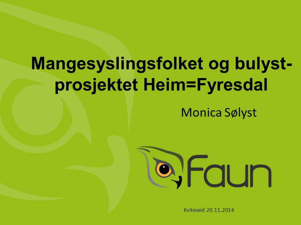 Mangesyslingsfolket og bulyst- prosjektet Heim=Fyresdal Monica Sølyst Kviteseid 20.11.2014