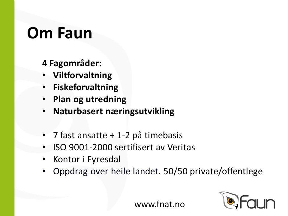 Om Faun 4 Fagområder: Viltforvaltning Fiskeforvaltning Plan og utredning Naturbasert næringsutvikling 7 fast ansatte + 1-2 på timebasis ISO 9001-2000 sertifisert av Veritas Kontor i Fyresdal Oppdrag over heile landet.