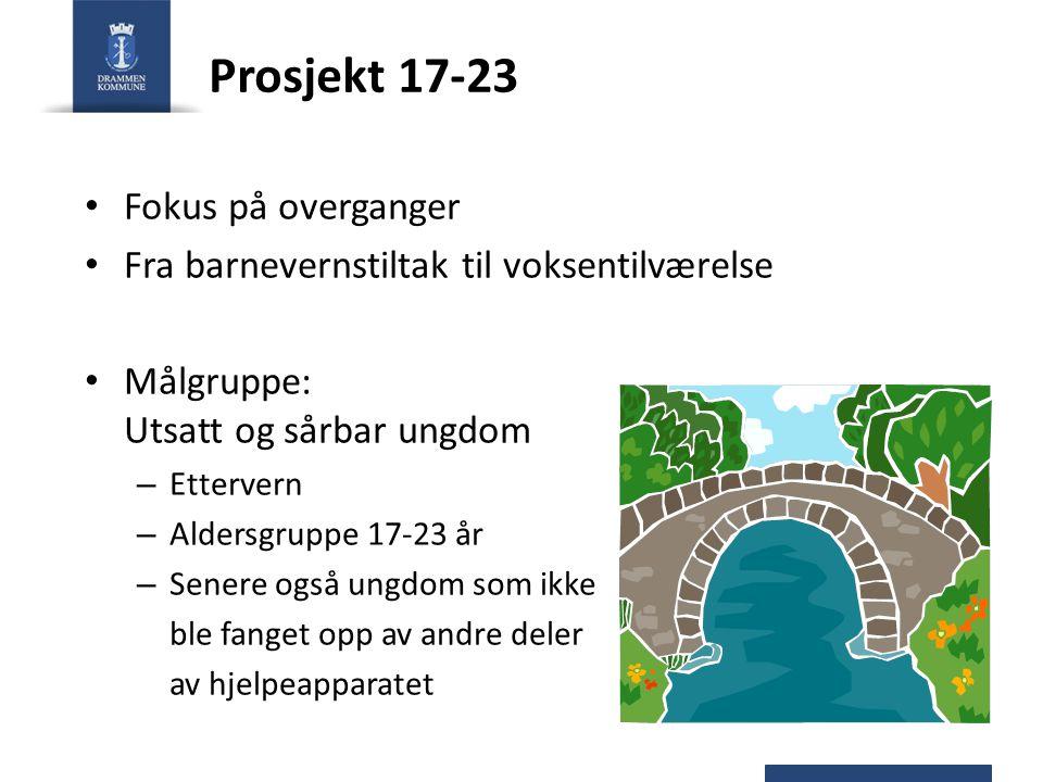 Prosjekt 17-23 Fokus på overganger Fra barnevernstiltak til voksentilværelse Målgruppe: Utsatt og sårbar ungdom – Ettervern – Aldersgruppe 17-23 år –