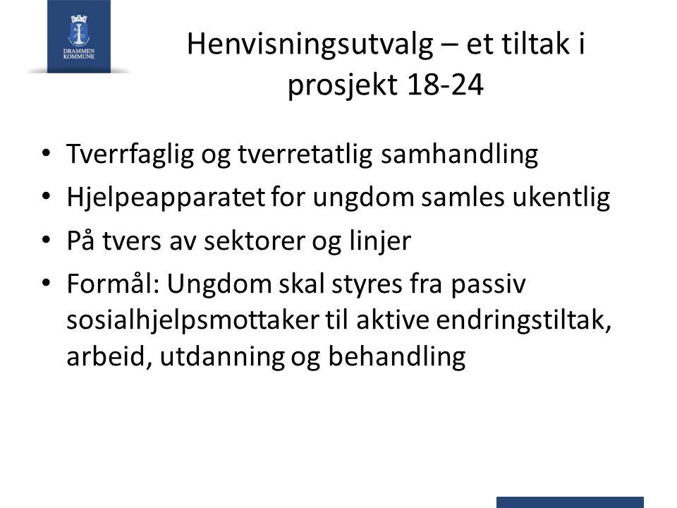 Henvisningsutvalg – et tiltak i prosjekt 18-24 Tverrfaglig og tverretatlig samhandling Hjelpeapparatet for ungdom samles ukentlig På tvers av sektorer